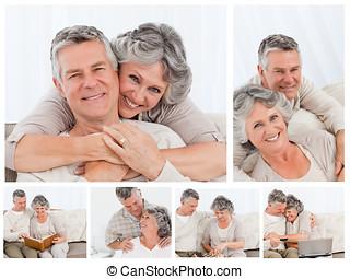 colagem, de, um, par ancião, desfrutando, momentos, casa
