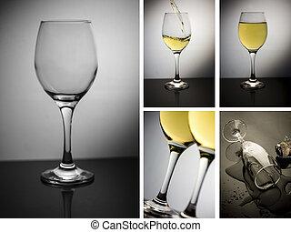 colagem, de, vidro vinho
