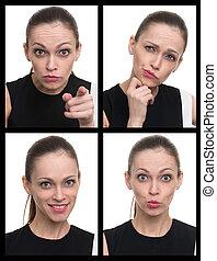 colagem, diferente, mulher, expressões, facial