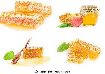 colagem, doce, isolado, mel, fundo, branca