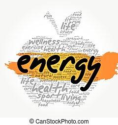 colagem, energia, palavra, maçã, nuvem
