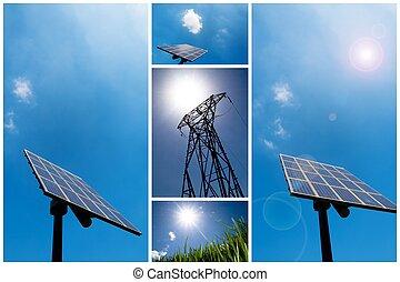 colagem, energia, solar