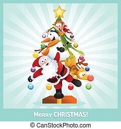 colagem, engraçado, cartão natal, caricatura
