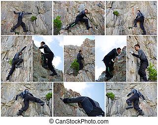 colagem, -, escalador, rocha