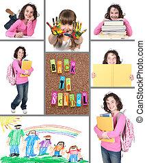 colagem, escola, costas, coloridos