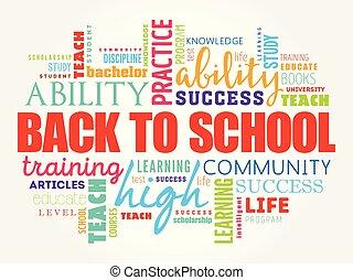 colagem, escola, palavra, costas, nuvem