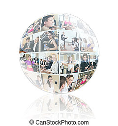 colagem, esfera, diverso, pessoas negócio