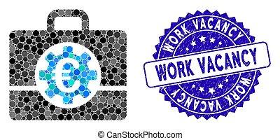 colagem, euro, ícone, selo, banco, vaga, trabalho, arranhado, caso
