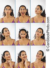 colagem, expressões, mulher, jovem, rosto