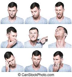 colagem, expressões, negativo, rosto