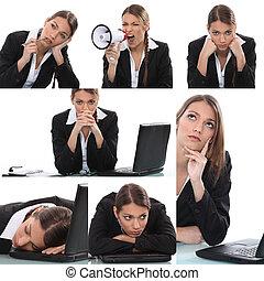 colagem, expressivo, mulher, trabalhador, escritório