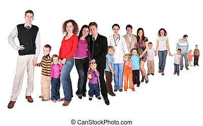 colagem, família, fila
