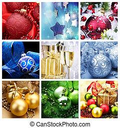 colagem, feriado, natal