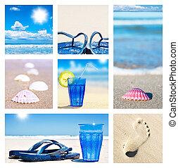 colagem, feriado, praia, cenas