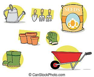colagem, ferramentas, jardim