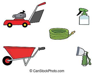 colagem, ferramentas, jardinagem, digital