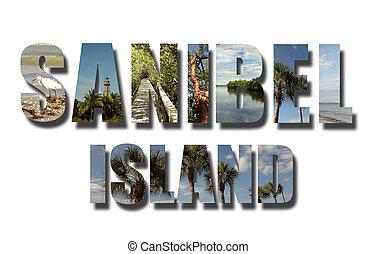 colagem, flórida, sanibel, branca, ilha