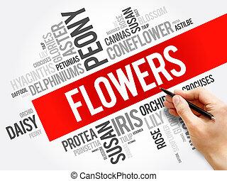 colagem, flores, palavra, nuvem