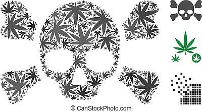colagem, folhas, crossbones, cranio, erva daninha