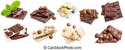 colagem, foto, barras, isolado, chocolate