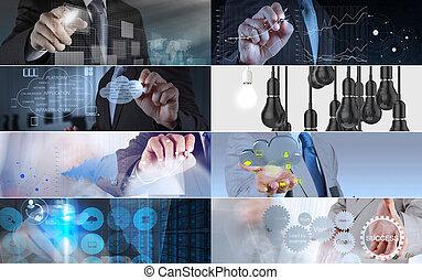 colagem, foto, conceito, estratégia negócio
