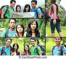 colagem, foto, de, hiking, pessoas