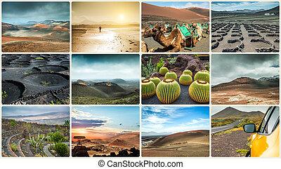 colagem, foto, lanzarote, paisagens, ilha