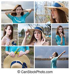 colagem, foto, menina, chapéu