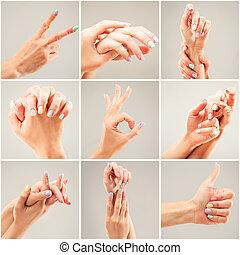 colagem, foto, mulher, mãos