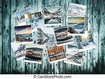 colagem, foto, noruega, inverno