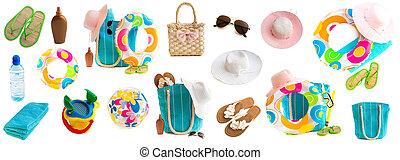 colagem, foto, praia, acessórios, brinquedos