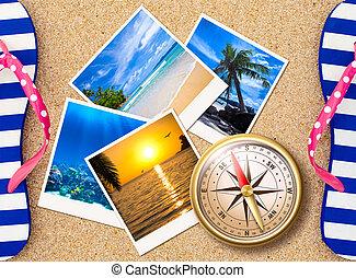 colagem, fotografias, areia, viajando, compasso, praia