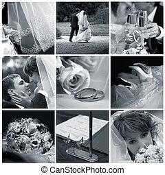 colagem, fotografias, nove, casório