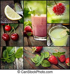 colagem, fruta, bebidas