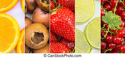 colagem, fruta fresca, experiência.