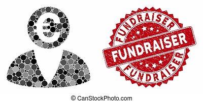 colagem, fundraiser, banqueiro, selo, euro, angústia