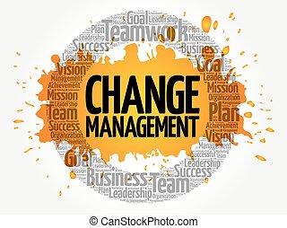 colagem, gerência, palavra, mudança, nuvem