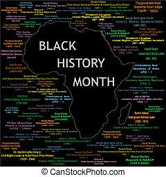 colagem, história, pretas, mês