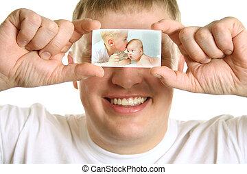 colagem, homem, crianças, cartão, olhos
