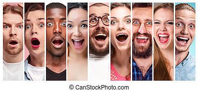 colagem, homens, jovem, rosto, expressões, sorrindo, mulheres