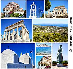 colagem, ilha,  aegina, Grécia