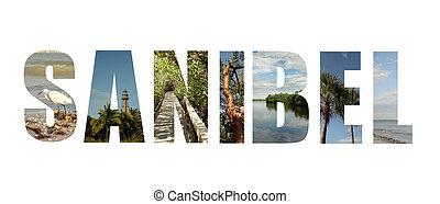 colagem, ilha, flórida, sanibel