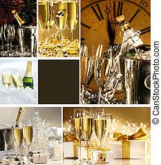 colagem, imagens, champanhe, anos novos