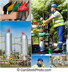 colagem, indústria, óleo