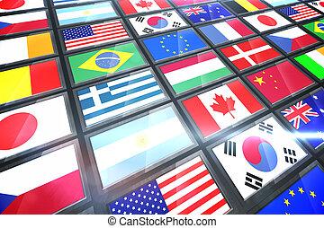 colagem, internacional, tela, bandeiras, mostrando