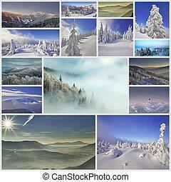 colagem, inverno, montanhas