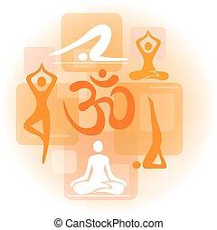 colagem, ioga, ícones