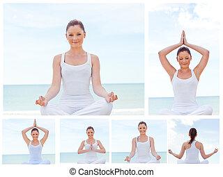 colagem, ioga, mulher, prática, jovem