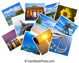 colagem, isolado, fotografias, viajando, fundo, branca