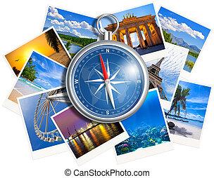 colagem, isolado, fotografias, viajando, fundo, compasso, branca